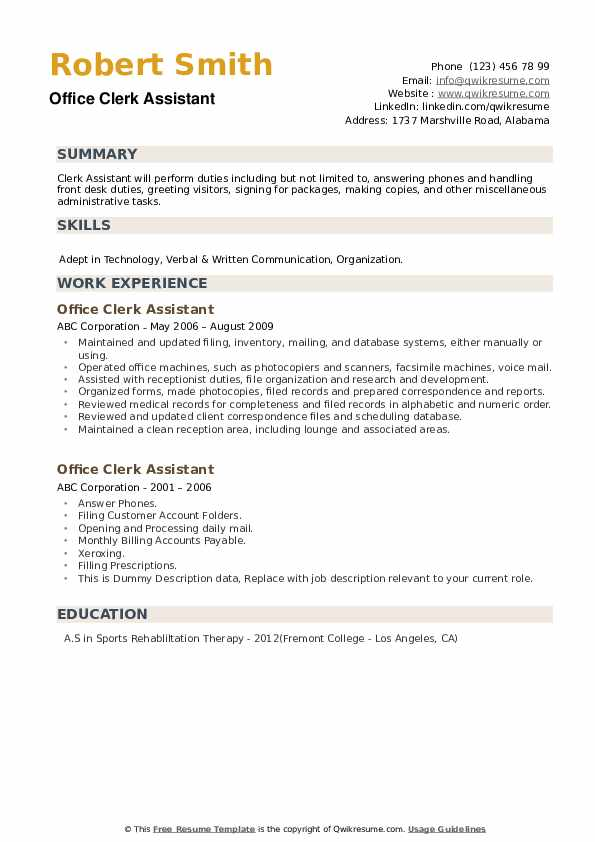 Office Clerk Assistant Resume example