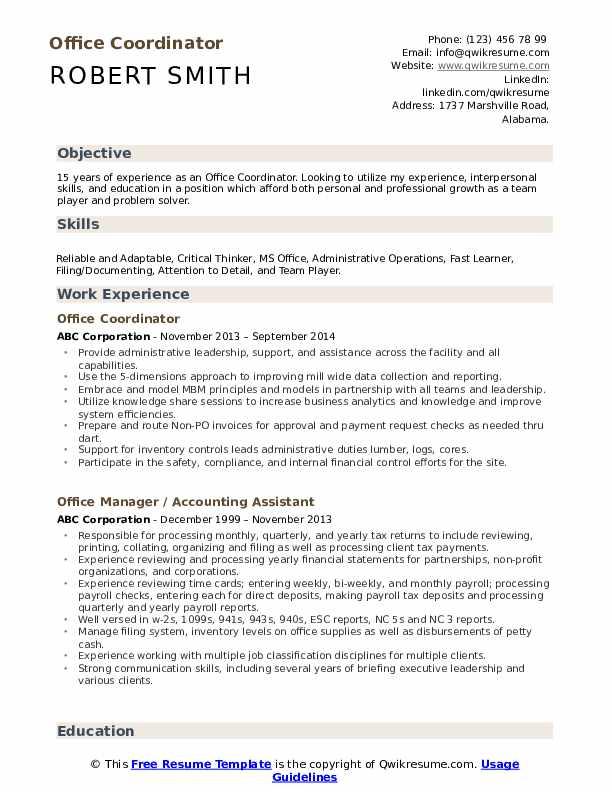 Office Coordinator Resume Model