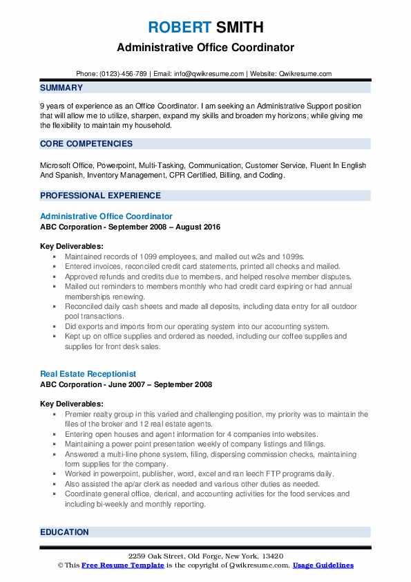 Administrative Office Coordinator Resume Format