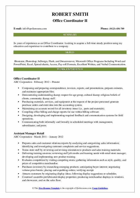 Office Coordinator II Resume Template