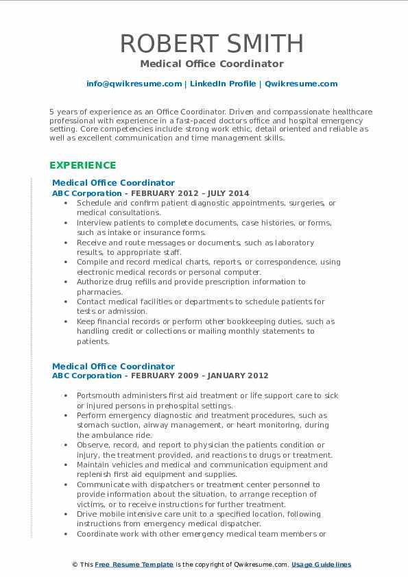 Medical Office Coordinator Resume Example