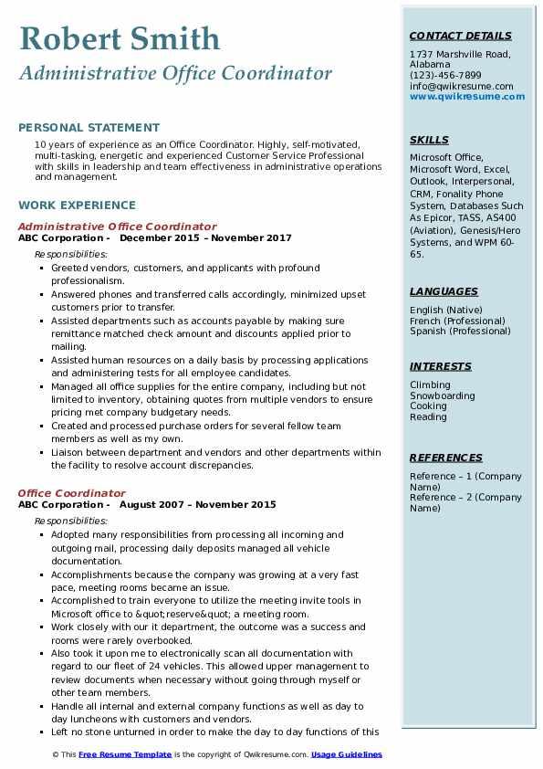 Administrative Office Coordinator Resume Example