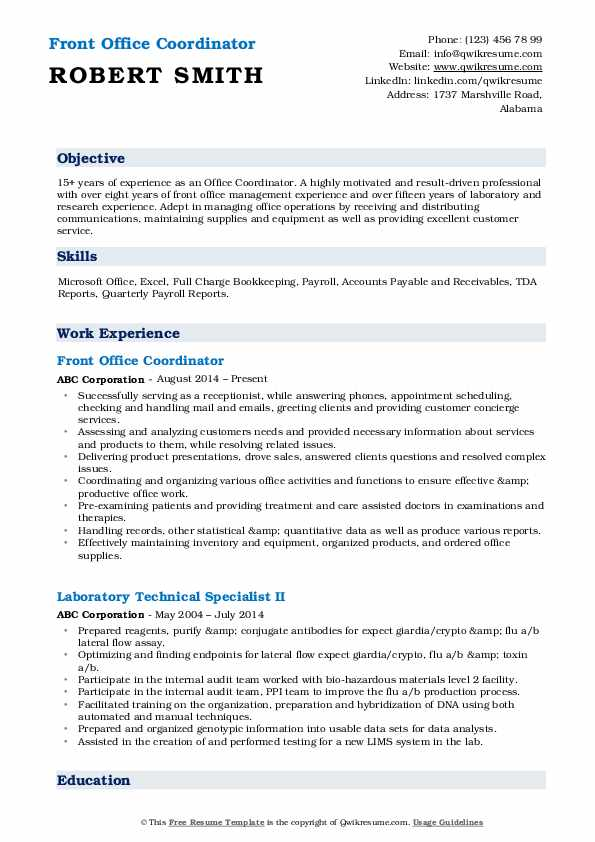 Front Office Coordinator Resume Sample