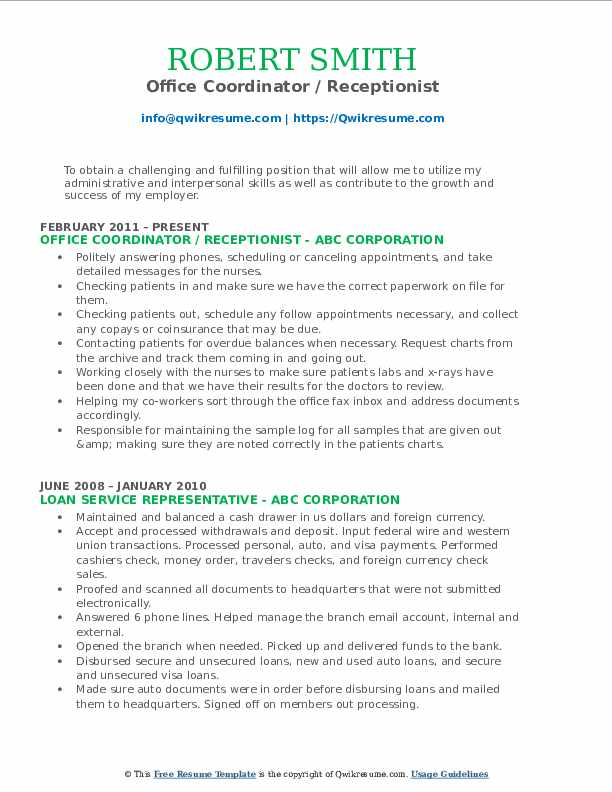Office Coordinator / Receptionist Resume Format