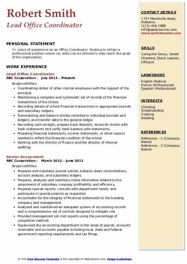 Lead Office Coordinator Resume Sample