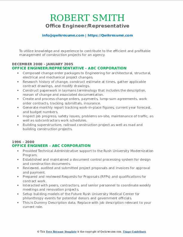 Office Engineer/Representative Resume Model