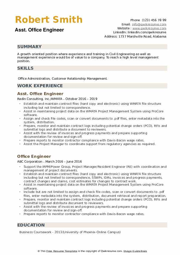 Asst. Office Engineer Resume Sample
