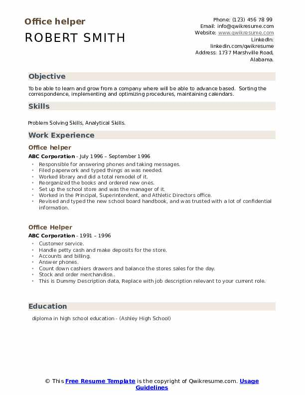 Office Helper Resume example