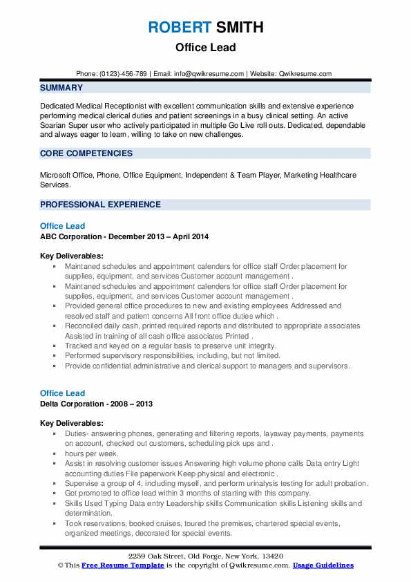 Office Lead Resume example