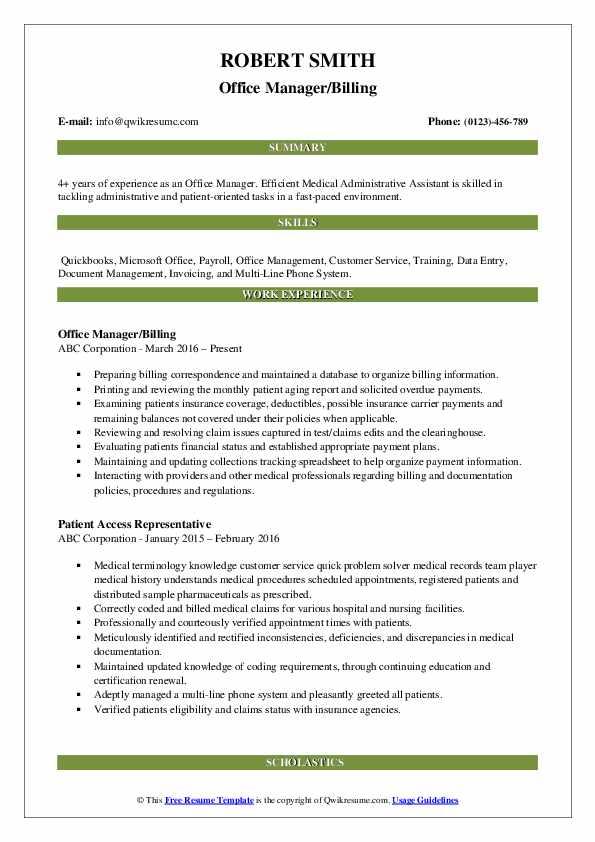 Office Manager/Billing Resume Format