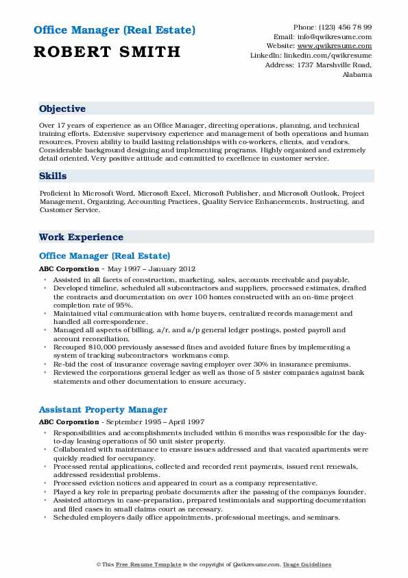 Office Manager (Real Estate) Resume Example