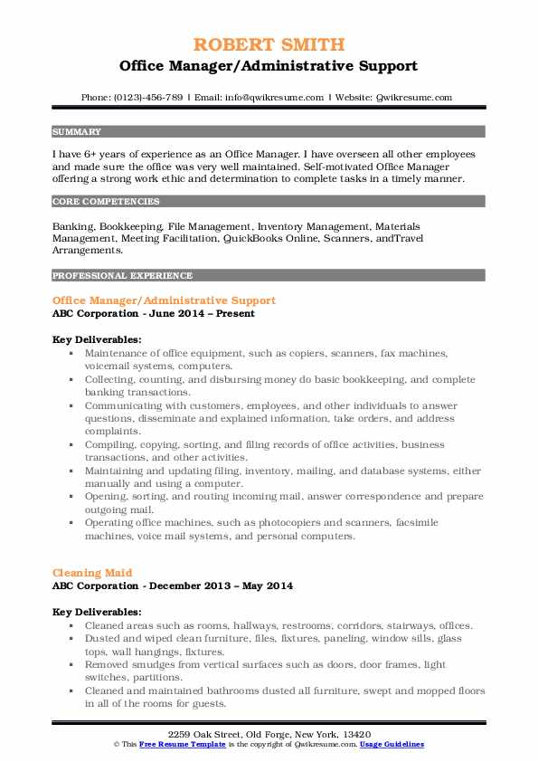 Office Manager/Administrative Support Resume Example
