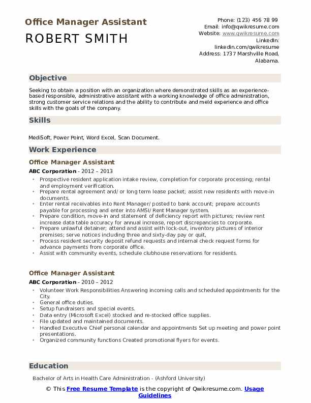 Office Manager Assistant Resume Samples Qwikresume
