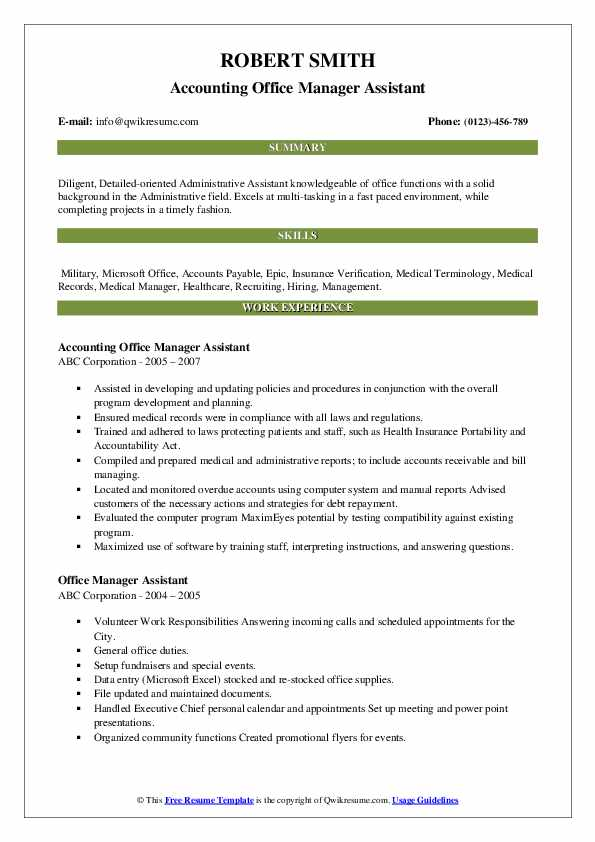 Accounting Office Manager Assistant Resume Template