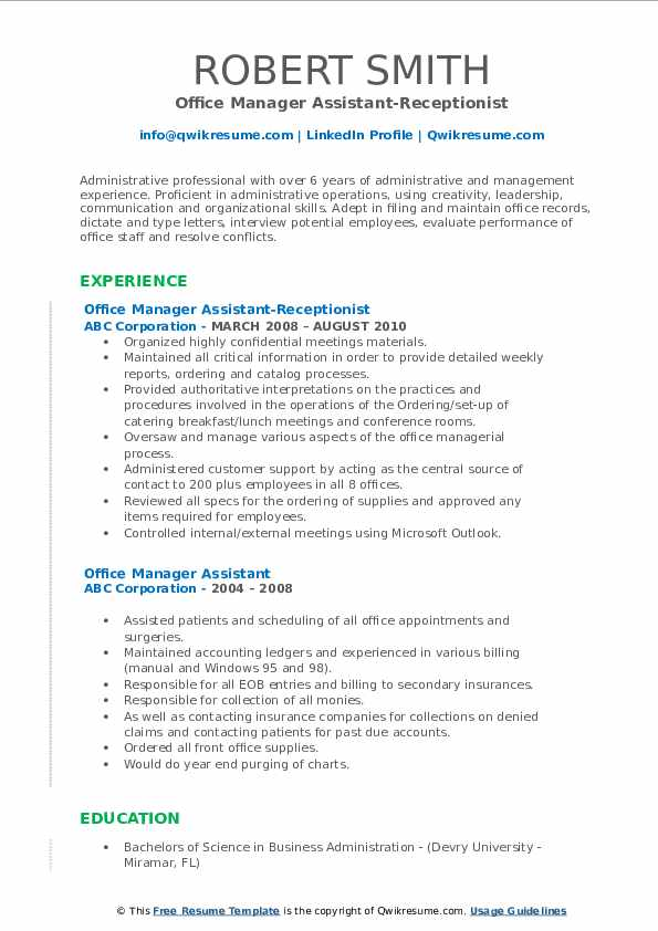 Office Manager Assistant-Receptionist Resume Template