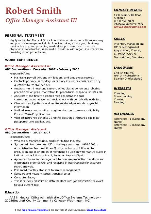 Office Manager Assistant III Resume Model