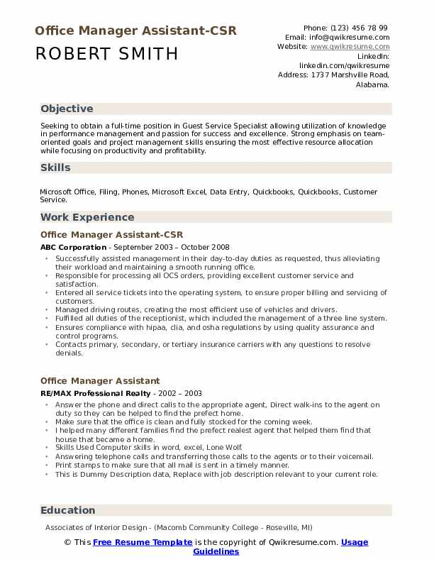 Office Manager Assistant-CSR Resume Format