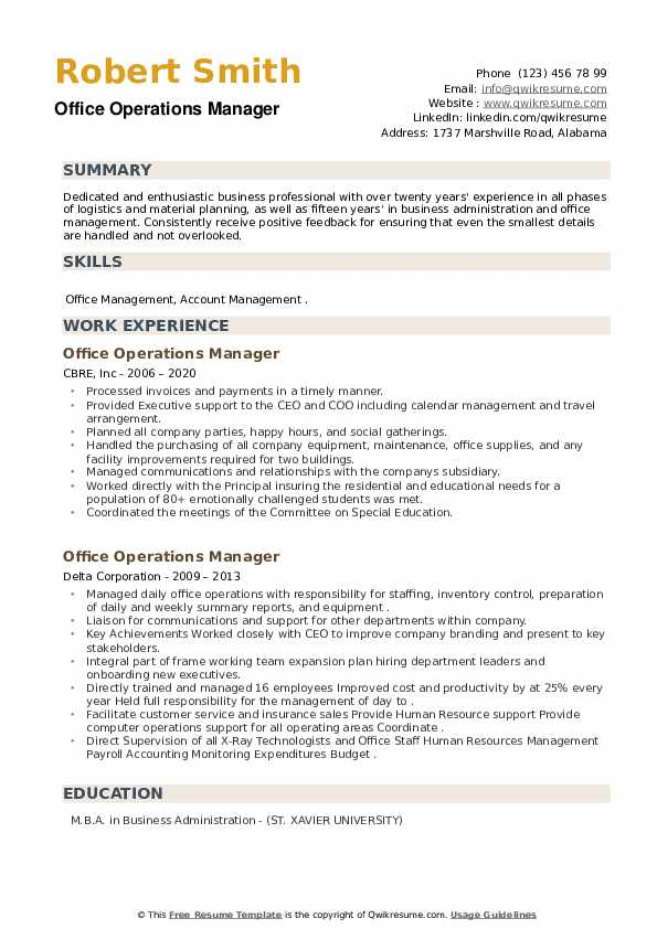 Office Operations Manager Resume example