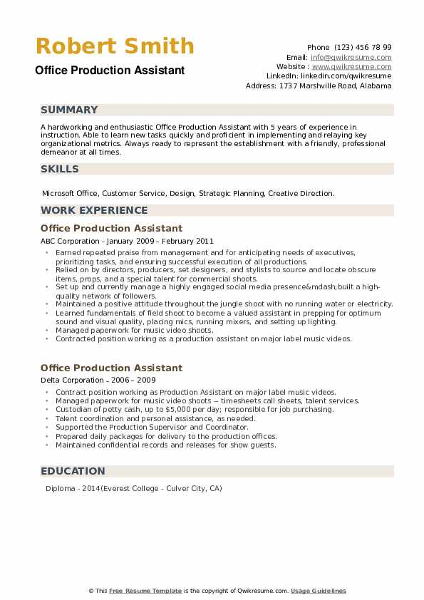 Office Production Assistant Resume example