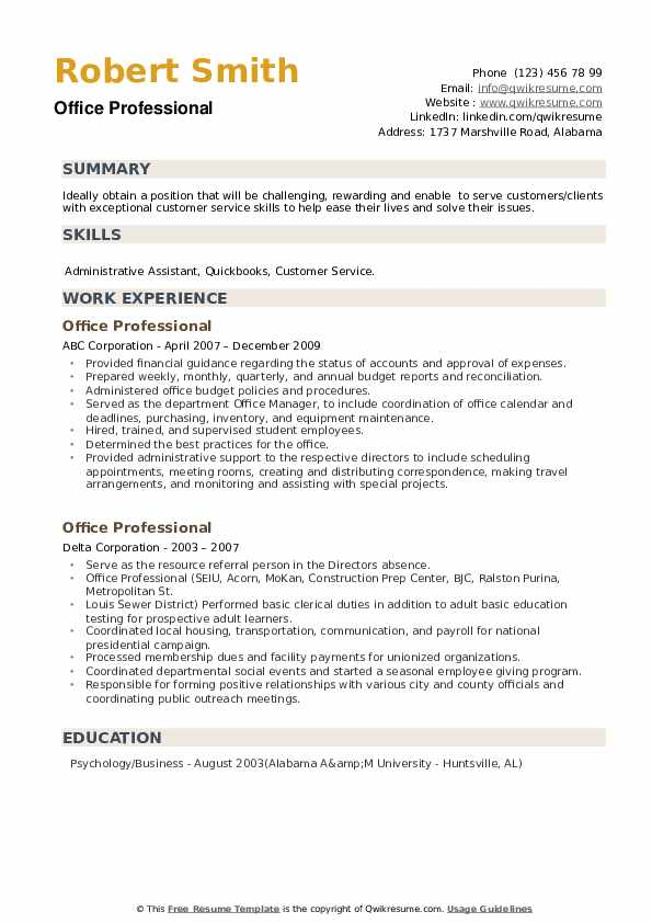 Office Professional Resume example