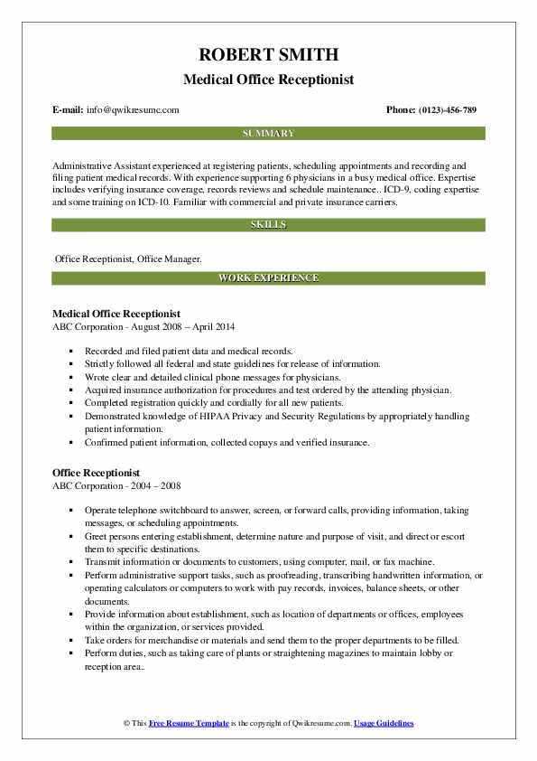 Office Receptionist Resume Samples | QwikResume