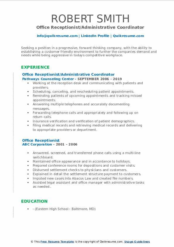 Office Receptionist/Administrative Coordinator Resume Example