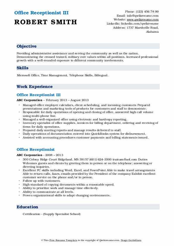 Office Receptionist III Resume Sample