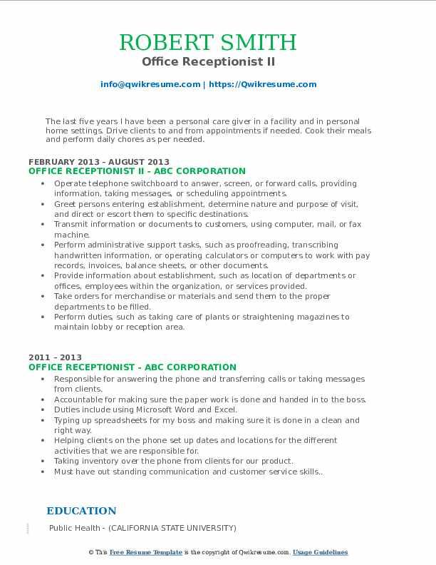 Office Receptionist II Resume Format