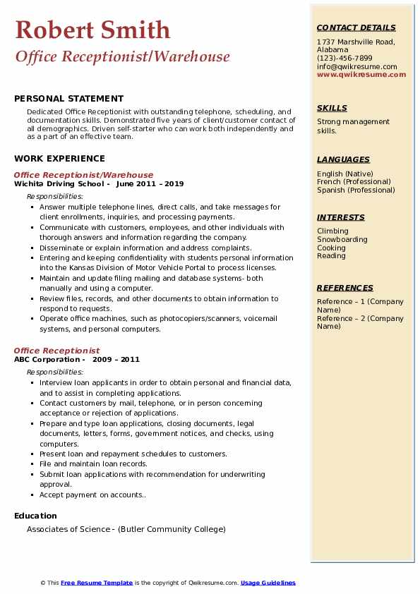 Office Receptionist/Warehouse Resume Example