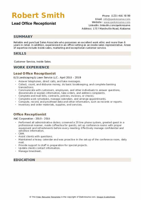Lead Office Receptionist Resume Template