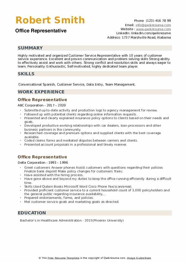 Office Representative Resume example