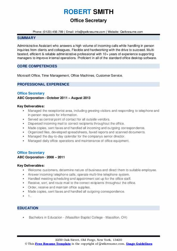Office Secretary Resume example