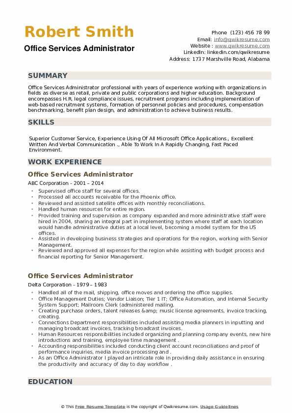 Office Services Administrator Resume example