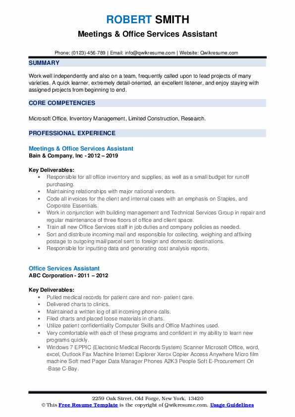 Meetings & Office Services Assistant Resume Sample