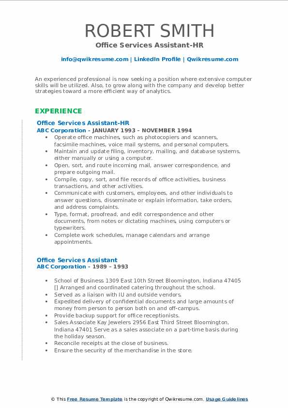 Office Services Assistant-HR Resume Template