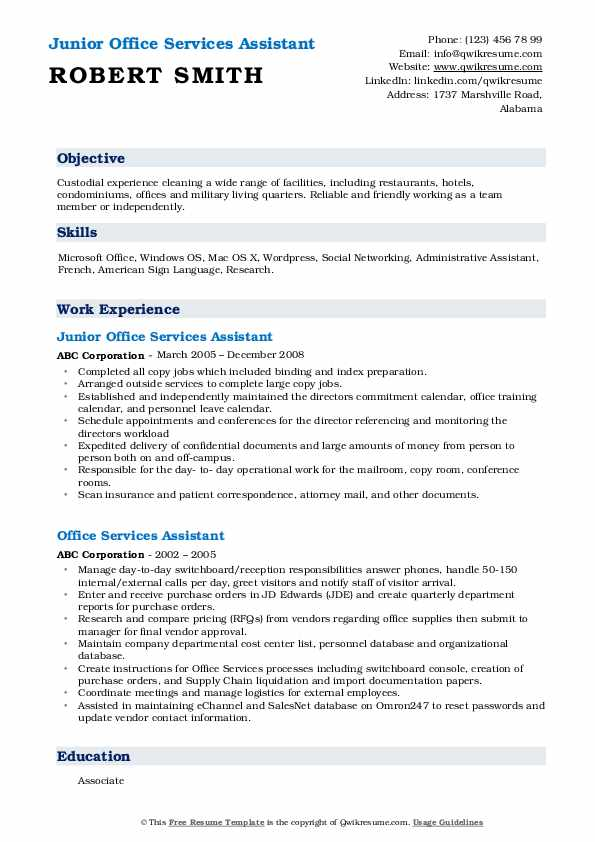 Junior Office Services Assistant Resume Template