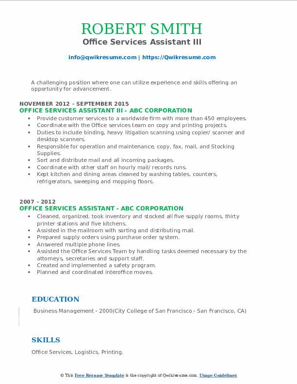 Office Services Assistant III Resume Model