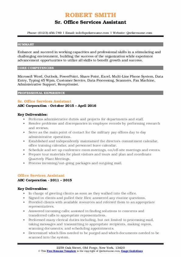 Sr. Office Services Assistant Resume Model