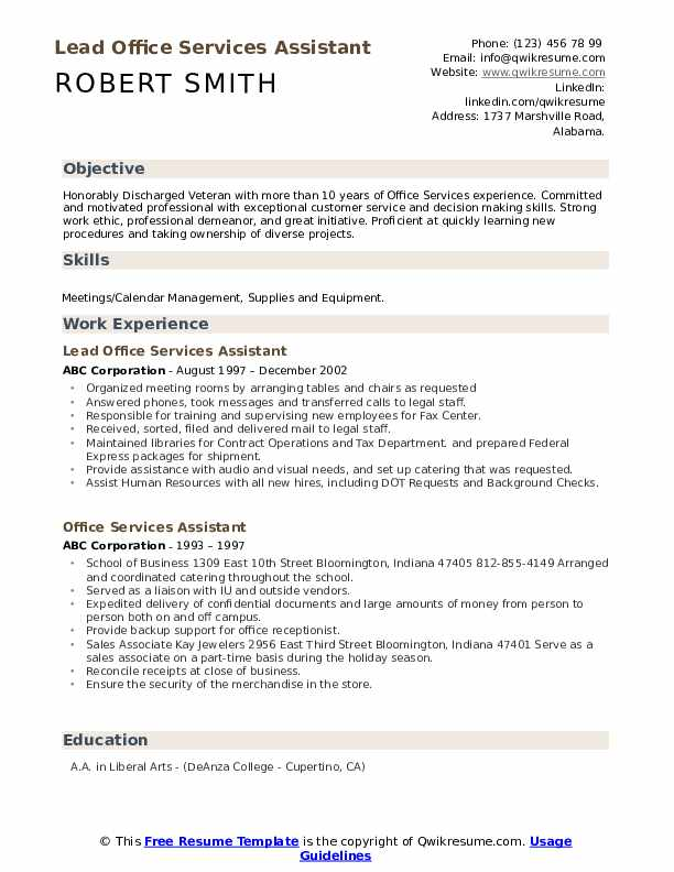 Lead Office Services Assistant Resume Sample