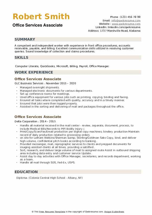 Office Services Associate Resume example