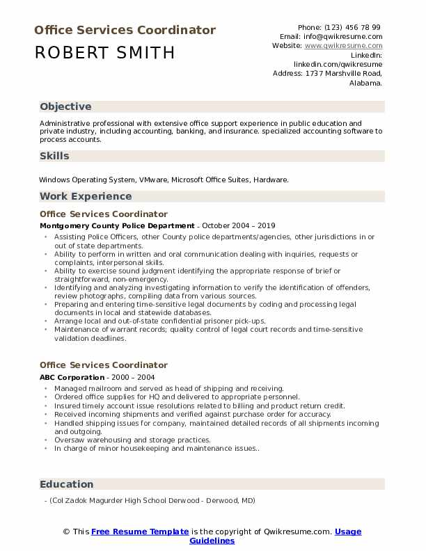 Office Services Coordinator Resume Format