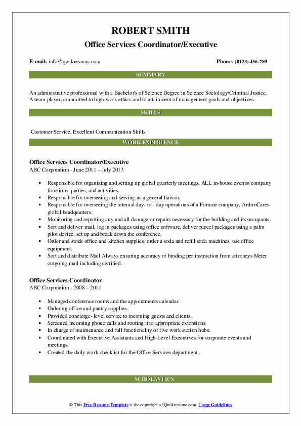 Office Services Coordinator/Executive Resume Format