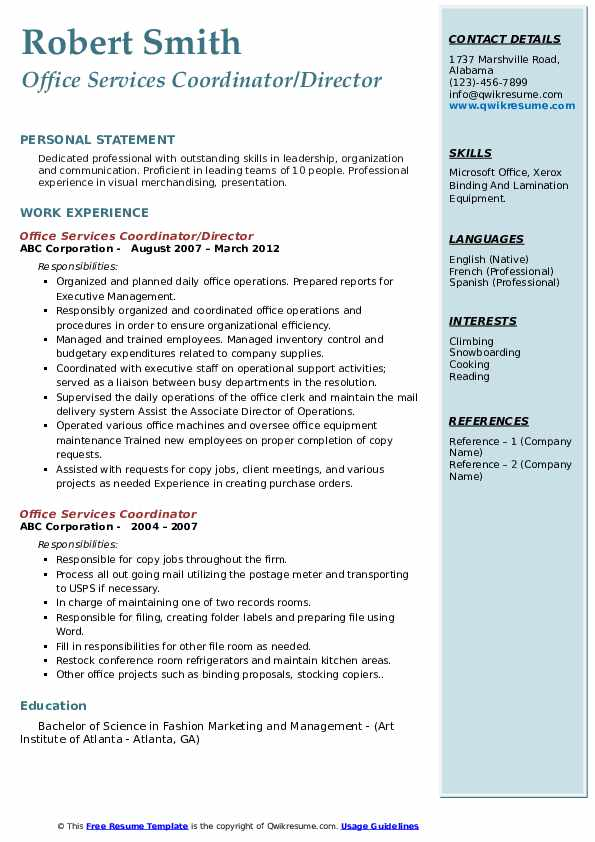 Office Services Coordinator/Director Resume Sample