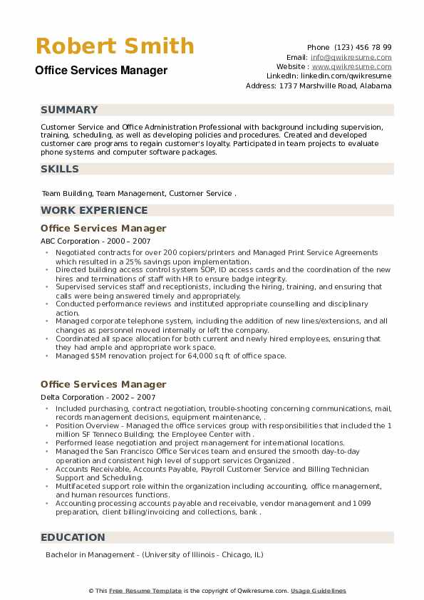 Office Services Manager Resume example