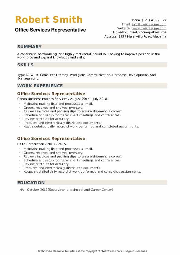 Office Services Representative Resume example