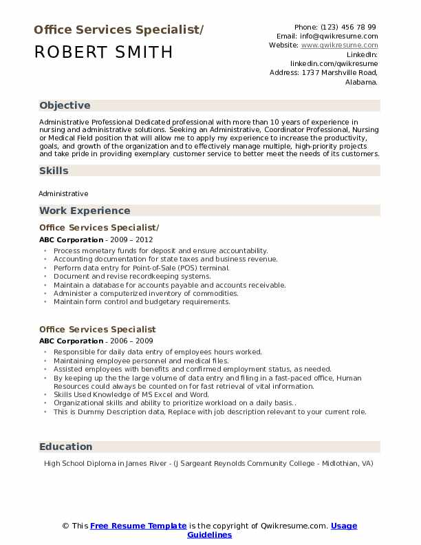 Office Services Specialist Resume example