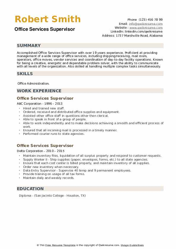 Office Services Supervisor Resume example