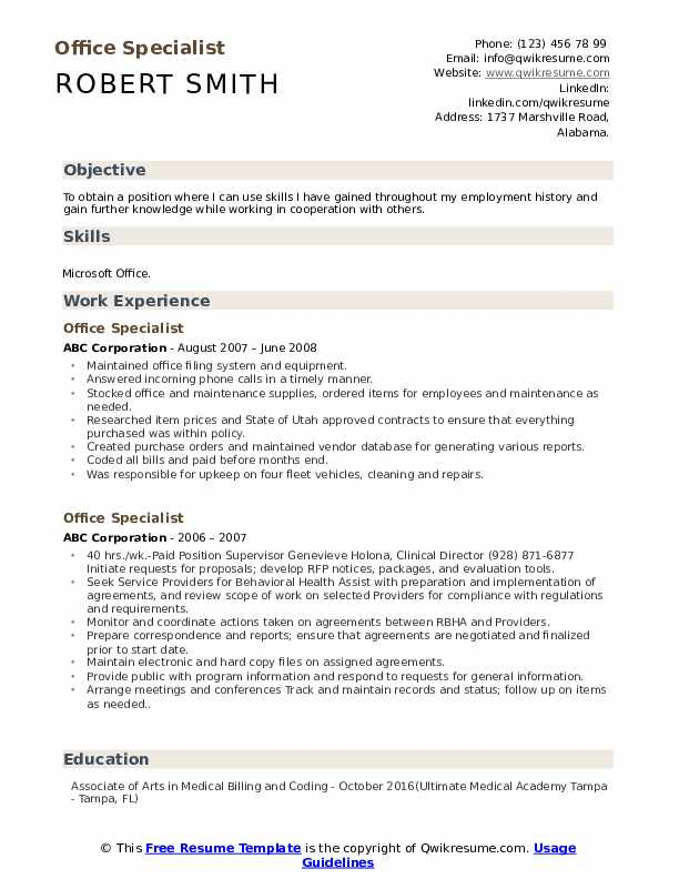 Office Specialist Resume Example
