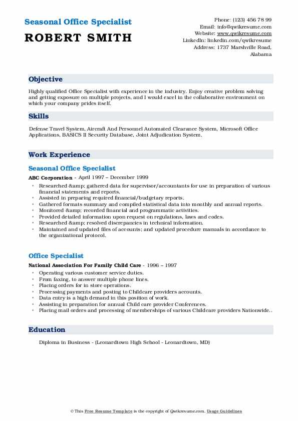 Seasonal Office Specialist Resume Sample