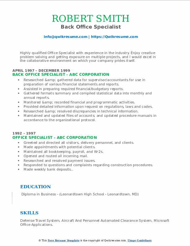 Back Office Specialist Resume Sample